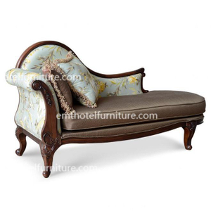 Foshan Wholesale European Style Hotel Bedroom Furniture Lounge Bed Solid Wood Living Room Sofa