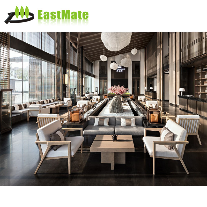 Customized-design hotel furniture wooden hotel lobby sofa set